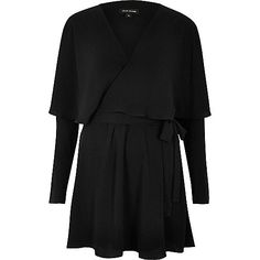 Black frilly tea dress - day / t-shirt dresses - dresses - women