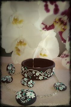 black, white, green combination - cute flowers polymer clay jewerly set