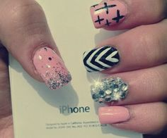 Pink and Black with Jewels, Stripe and Cross Nail Art Design