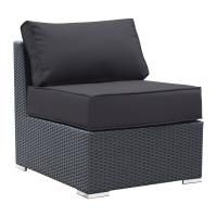 Luxo Maho Middle Armless Seat Chair with Cushions for Outdoor Modular Sofa Setting Black; $200