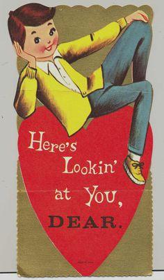 Lookin at You Vintage Valentine Card Handsome Man My Funny Valentine, Valentines Greetings, Vintage Valentine Cards, Valentines For Boys, Vintage Greeting Cards, Vintage Holiday, Vintage Postcards, Happy Valentines Day, Printable Valentine