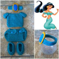 Crochet Disney's Jasmine Outfit (Jewel Headband, top, diaper cover and booties) on Etsy, $30.00