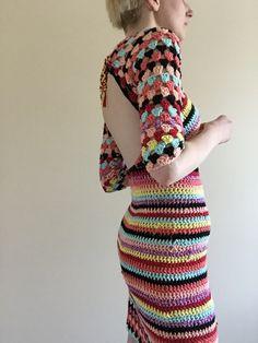 Groovy rainbow crochet dress by TessaPerlowInc on Etsy