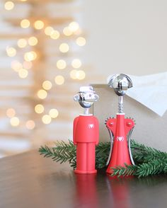 #25PerfectGifts: Meet one of Italy's power couples. Alessandro M. and Anna G. are two of Alessi's most famous figures, both in corkscrew form designed by Alessandro Mendini. Just in time for gifting, Alessi introduced a special edition of Anna and Alessandro in the Product(RED) collection, which sends proceeds of each sale to benefit the Global Fund to Fight AIDS.