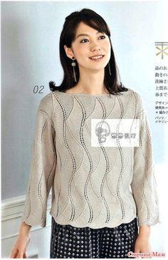 Пуловер с интересным вертикальным узором. Спицы Источник: http://www.stranamam.ru/post/13105393/