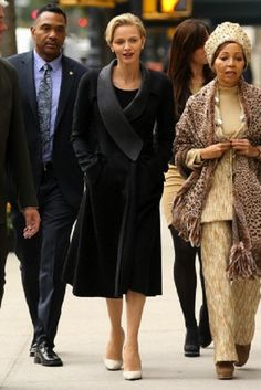 (L-R) Princess Charlene and South African businesswoman Bridgette Radebe walking to Daniel restaurant for lunch in New York City, 10.30.13