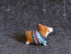 CUTE!  Corgi Miniature Animal Figurine Sculpture Animal by PiccoloCirco, $34.00