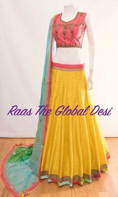 Silk Chania with designer brocade blouse and contrast dupatta Lehenga Gown, Party Wear Lehenga, Lehenga Choli Online, Anarkali Dress, Saree, Indian Skirt, Indian Dresses, Indian Outfits, Indian Clothes
