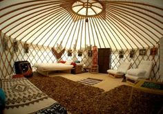 mongolian yurt at DuckDuckGo Mongolian Tent, Yurt Tent, Yurt Home, Yurt Living, Cool Tree Houses, Luxury Tents, Earthship, Round House, Tiny House Design
