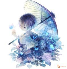 DeviantArt: More Like [Elsword - Ara] Anime Maid Girl Render by Yahone Anime Chibi, Kawaii Anime, Manga Anime, Gouache, Anime Butterfly, Blue Butterfly, Composition Art, Anime Maid, Blue Anime