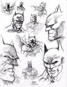 ball point pen flipped through my copy of Batman 'Hush' by Jim Lee and just started filling the page with head shots. i was drawing direct with only ball point pen so i was fortunate the compositio...