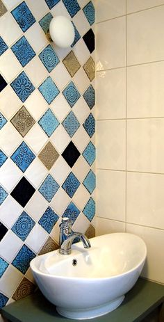 Bathroom tiling hand made by Terraviiva. Bathroom Tiling, Bathroom Ideas, Bathrooms, Tiles, Mosaic, Sink, Sweet Home, Nice Ideas, Kitchens