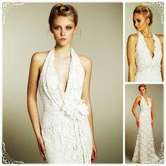 Halter Top Wedding Dresses with V-Neckline, for detailed article about this picture get on http://www.weddingyuki.com/2015/03/halter-top-wedding-dresses-is-it-right.html