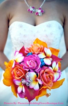 Sheila's Wedding Bouquet Real Touch Amaryllis, Calla Lily, Plumeria, Roses, Bridal Bouquet