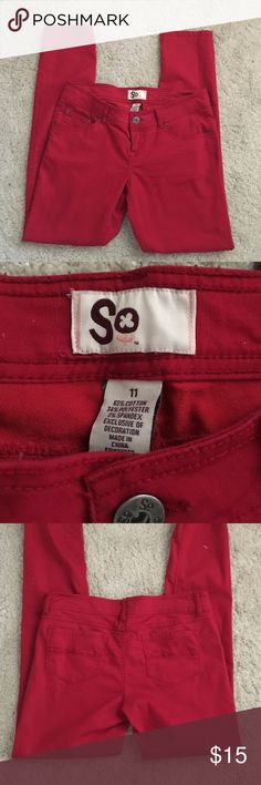 red skinny pants  In great condition. Only worn a few times. No stains, rips or fading. 63% cotton, 34% polyester, 3% spandex. Measures approximately 15.5 inches waist and inseam is approximately 30 inches. Smoke and pet free home. SO Pants Skinny