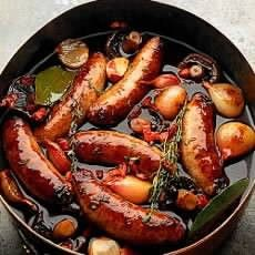Made this with homemade organic chorizo and garlic sausage. It is fabulous. (Venison sausages braised in red wine)
