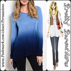 "NWT Long Sleeve Ombré Top - LAST ONE SIZE MEDIUM Size: Medium  ~ LAST ONE IN SIZE MEDIUM   Available in sizes: S & M (see separate listing for size small  ~ ONLY ONE LEFT IN EACH SIZE)  Measurements taken in inches from a size small:  Length: 34"" Bust: 36"" Waist: 40""   Features:  • long sleeve  • pull over design  • relaxed fit  • soft material  • stunning blue ombré coloring  • bottom hemline drapes longer on sides   Fabric Content: 95% RaYon 5% Spandex   Bundle discounts available  No…"