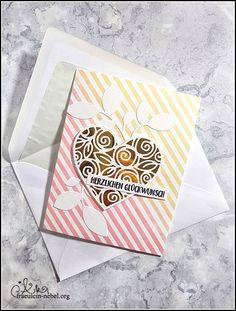 [Werkeltisch] Hochzeitskarte - heart of roses | fraeulein-nebel.org Wedding Cards, Cardmaking, Heart, Ideas, Paper, Diy Wedding Cards, Card Wedding, Cordial, Xmas Cards