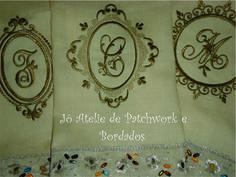 Toalhas de Lavabo bordadas monograma.