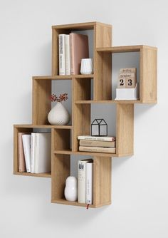 "Wall shelf ""Lotta I"" - in oak NB- Wandregal ""Lotta I""- in Eiche NB Wall shelf ""Lotta I"" Made in Germany with 6 large and 2 small compartments in oak imitation - Home Decor Shelves, Wall Shelf Decor, Diy Home Decor, Diy Bookshelf Design, Wall Shelves Design, Diy Bookshelf Wall, Bookshelf Ideas, Cube Shelves, Wooden Shelves"