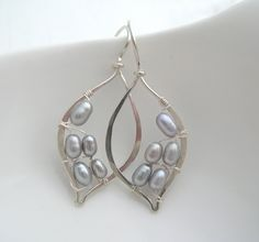 Silver Pearl Leaf Hoops. - nice placement, needs a 3rd one on bottom row...