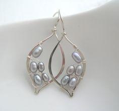 Silver Pearl Leaf Hoops.