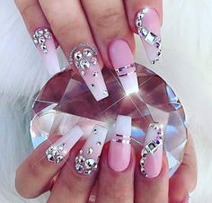 Pink Rhinestones and diamonds nail art design. Luxury nails