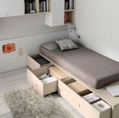 Dormitorios juveniles slang go de jjp Small Bedroom Designs, Small Room Design, Home Room Design, Small Room Bedroom, Bed Design, Home Bedroom, Modern Bedroom, Home Interior Design, Bedroom Furniture