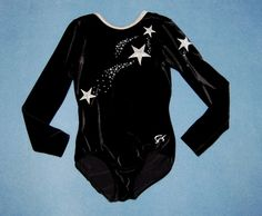 GK Elite Gymnastics Leotard CL Child Large L Competition Black Silver Stars #GKElite