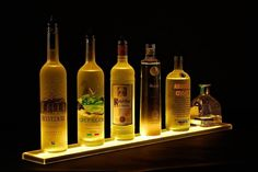 Liquor Bottle Display Shelves -  Home Bar Lighting #hometalk #liquorshelves