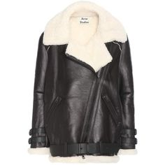 Acne Studios Velocite Shearling-Lined Leather Jacket (€2.505) ❤ liked on Polyvore featuring outerwear, jackets, black, acne studios, shearling lined leather jacket, genuine leather jackets, shearling lined jacket and leather jackets