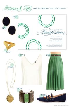Stationery  Style: Vintage Bridal Shower Outfit