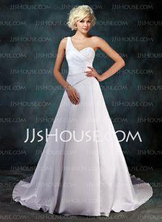 Wedding Dresses - $152.99 - A-Line/Princess One-Shoulder Chapel Train Satin Wedding Dress With Ruffle Beadwork Sequins (002001181) http://jjshouse.com/A-Line-Princess-One-Shoulder-Chapel-Train-Satin-Wedding-Dress-With-Ruffle-Beadwork-Sequins-002001181-g1181