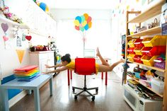 Someday I will work from home in a bright, fun space like this! And I will feel like her!