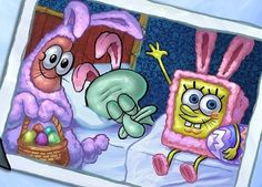 Happy Easter everyone from SpongeBob Patrick and Squidward Spongebob Patrick, Spongebob Memes, Cartoon Memes, Spongebob Squarepants, Cute Cartoon, Cartoon Characters, Cartoons, Spongebob Friends, Spongebob And Patrick Costumes