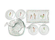 For The Holiday Host: Our Snowmen Dots Divided Platter, Holiday Dots Square Bowl, bundled with four Snowmen Round Appetizer Plates.