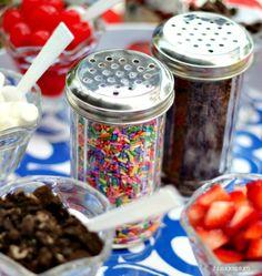Ice Cream Sundae Bar for a Pool Summer Party.shakers from Dollar Store Bar Sundae, Sundae Party, Ice Cream Station, Ice Cream Social, Ice Cream Toppings, Ice Cream Sundaes, Popcorn Toppings, Best Ice Cream, Icecream Bar