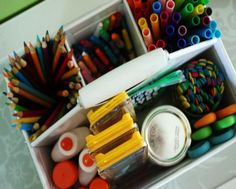 Keep those school and craft supplies organized and accessible with these 13 great ideas.