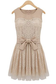 Grand Plié Damask Lace Bow Dress in Beige | Sincerely Sweet Boutique