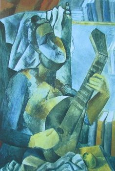 Frau mit Mandoline PABLO PICASSO Kunstdruck