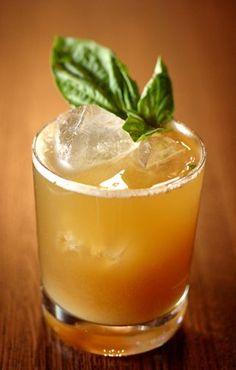 Bufala Negra 1 1/2 oz. bourbon 4 fresh basil leaves 1 brown sugar cube 1/2 oz. balsamic syrup (see below) 2 oz. ginger beer Garnish: fresh basil leaf