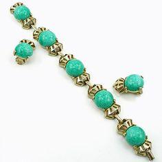 Vintage Faux Jade Bracelet and Earrings Demi Parure from luckyladyvintage on Ruby Lane