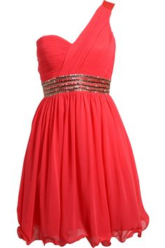 Lizzie	    Coral One Shoulder Dress