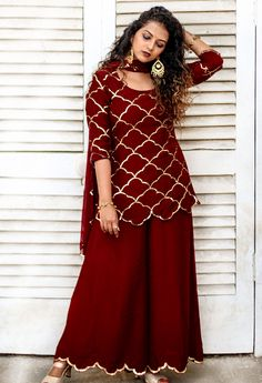 Vihari Red Sequinned Kurta Palazzo Dupatta Set from the Party Wear Indian Dresses, Designer Party Wear Dresses, Pakistani Dresses Casual, Dress Indian Style, Pakistani Dress Design, Indian Designer Outfits, Punjabi Suit Neck Designs, Shadi Dresses, Neck Designs For Suits