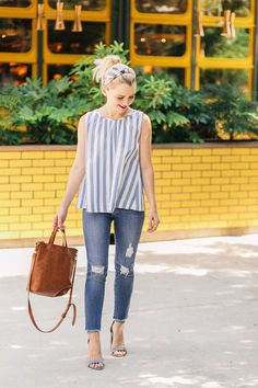 How To Mix Floral and Stripe Prints For Summer - Poor Little It Girl. Blue striped blouse+distressed skinny jeans+light blue ankle strap heeled sandals+cognac tote bag+printed turban. Summer Dressy Casual Outfit 2017 #heeledsandalsoutfitjeans