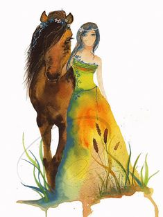 Walk With Me  Art Print horse woman rider mare foal by oladesign (Art & Collectibles, Prints, girl, gift, art, young, spirit, room, fairy, watercolor art, horse, horse art, horse painting, horse watercolor, brown horse)