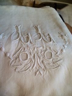 Double French Linen Sheet LL Monogrammed White Hand by BrocanteArt, £85.00
