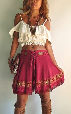Handmade Bohemian Blouse with lace fringe. Can be worn Off Shoulder style or Spaghetti Strap style