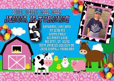 Pink Farm Birthday Invitation MellysHandmades on Etsy