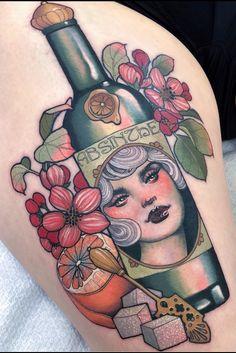 By Hannah Flowers Baby Tattoos, Head Tattoos, Time Tattoos, Body Art Tattoos, Color Tattoos, Portrait Tattoos, Tatoos, Traditional Tattoo Wrist, Traditional Tattoo Flowers